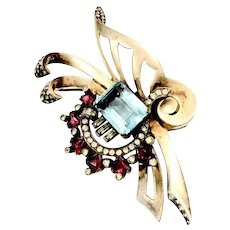 Mazer Sterling Retro Aqua and Ruby Rhinestone with Soft Gold Tone Wash Brooch