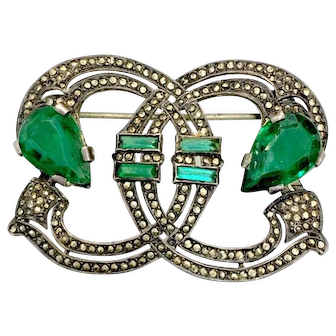Silver and Marcasite Brooch with Emerald Glass Pear and Baguette Glass Rhinestones