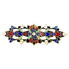 Long Slim Enameled Victorian Brightly Colored Bar Brooch