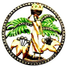 Beautifully Enameled Tropical Scene Sterling Circle Brooch with Marcasite