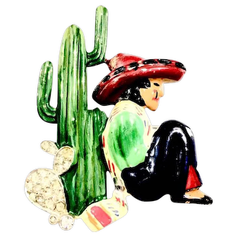 B. Blumenthal & Co. Time for a Siesta Enameled Sombreroed Man Under Cactus