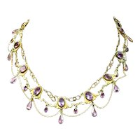 Victorian Gilt with Amethyst Colored Stone Festoon Necklace
