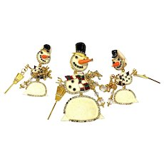 LUNCH at the RITZ Snowman Brooch and Earrings Set