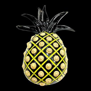 Isabel Canovas Large Black Yellow Resin Pineapple Brooch