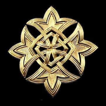 JOMAZ Large Gold Tone Maltese Brooch