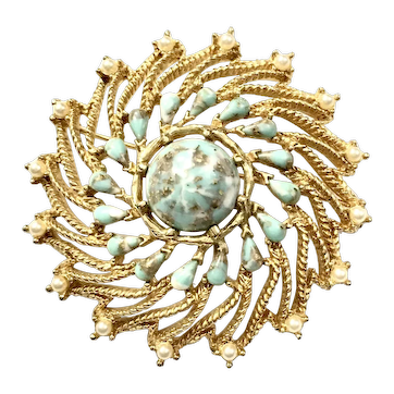 Mottled Turq Speckled Stones in a Swirling Gold Tone Setting Brooch