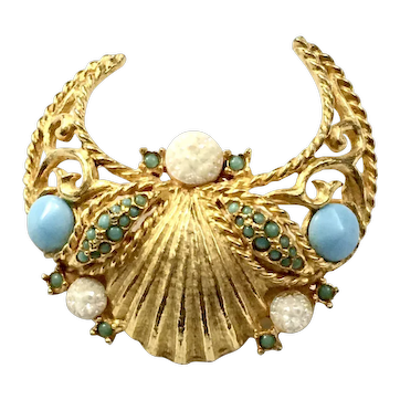 JEANNE Gold Tone Crescent Shell Shape Stoned Brooch