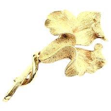 CORO Textured Goldtone Budding Flower Brooch