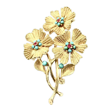CAPRI Triple Flower Textured Gold Tone Brooch with Turq and Red Stones