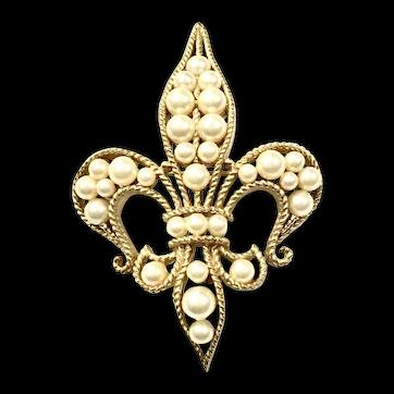 TRIFARI Florentine Gold Tone Metal and Faux Pearl Fleur de Lys Brooch