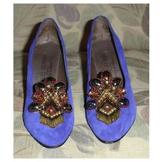 Glitzy Charles Jourdan Purple Suede Pumps with Beads and Stones