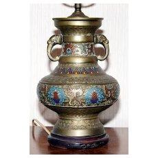 Very Old Enameled Metal Persian Looking Lamp Base