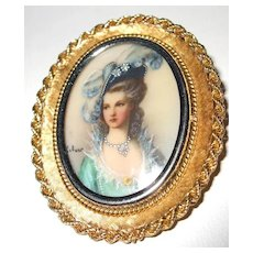 18K Framed Spanish Painted Fine Feathered Capped Lady with Diamond Chips Brooch/Pendant