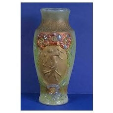 Indiana Glass Vibrant Goofus Vase with Romanesque Dancing Lady Muse