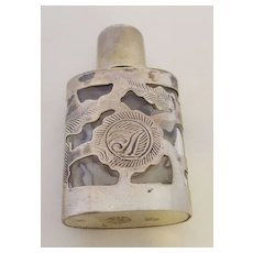 Etched Design Mexico 925 Silver Cased Perfume Bottle