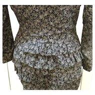 CLAUDE BARTHELEMY Paris Ruffled Derriere Black Liberty Print Suit