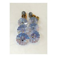 Blue Iris Margarita Rhinestone Wired Triple Drop Earrings