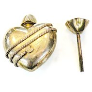 TIFFANY & CO. Sterling Silver Heart Perfume Bottle and Rod in Original Box