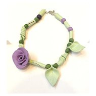 Super Fun Asymmetric Multi Color Floral Clay Necklace