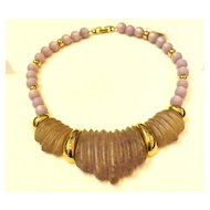 NAPIER Dusty Purple Heavy Carved Lucite and Moonglo Necklace