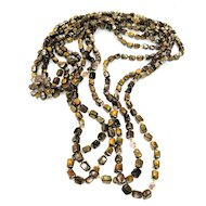 Forty Four Inch Long Opera Length Triple Strand Flower Clasp Brown Beaded Necklace