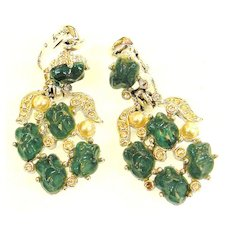KRAMER Green Lava Rock and Imitation Pearl Drop Earrings