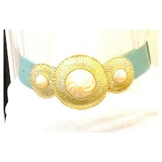 ALEXIS KIRK Etruscan Revival Three Part Belt Buckle with Imitation Pearl