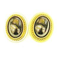 YSL Hematite and Braided Rope Edge Earrings