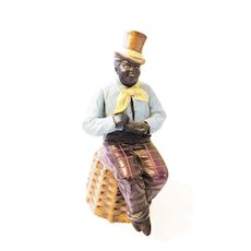 1885 FRENCH DELARUE PICARD Hand Painted African Figural Man on a Stool Marked Modele Depose