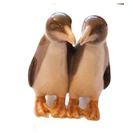 Precious Pair of Grey Porcelain Penguins with Pigeon Toed Feet