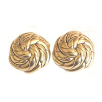 GOOSSENS PARIS Swirling Gold Tone Metal Design Earrings
