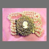 SUPERLATIVE Pinchbeck Cannetille & Cameo/Six-Strand Akoya Cultured Pearl Bracelet, c.1825!