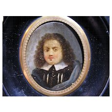 DIVINE French Oil on Copper Portrait Miniature of a Puritan or Huguenot Gentleman, c.1640!