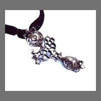 "EXQUISITE 2"" Georgian Diamond/Sterling Drop Pendant, .45 CT TW, c.1750!"