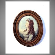 LOVELY English Portrait Miniature of a Pretty Young Girl w/Auburn Hair, c.1785!