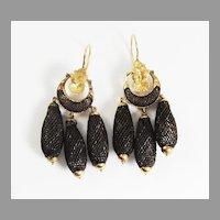 FABULOUS American Girandole Hair/14kt Earrings, Ralph Waldo Emerson Estate Provenance, c.1860!