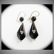 TIMELESS American Onyx/Pearl/14k Victorian Drop Earrings, c.1875!