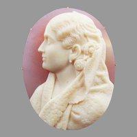 MASTERPIECE Pink Onyx/22k Portrait Cameo Brooch of a Lady Signed by Publio de Felici, c.1890!