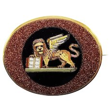 EXQUISITE Grand Tour Micromosaic of the Lion of St. Mark in 9k Brooch, c.1870!
