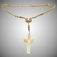 MASTERPIECE American Victorian 14k/Enamel/Cameo Necklace w/Removable Cross Pendant Drop, 38.47 Grams, c.1880!