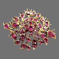 MASTERPIECE Victorian Anglo-Indian 7.01 Ct. TW Ruby/14k Brooch w/GIA GG Valuation of $6,645.00 , c.1850!