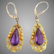 SPECTACULAR Late-Georgian Two-Color Pinchbeck/Amethyst Paste/14k Earrings, c.1830!