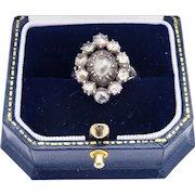BEAUTIFUL Georgian 1.6 Ct. TW Rose-Cut Diamond/Sterling/14k Cluster Ring, c.1790!