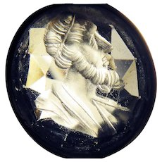 STUNNING 22.98 Ct. Rock Crystal Georgian Intaglio of a Prophet in 9k Pendant, c.1800!