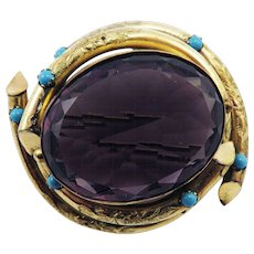 OUTSTANDING Victorian 114.9 Ct. Amethyst/Turquoise Paste/Gold Filled Pendant/Brooch, c.1855!