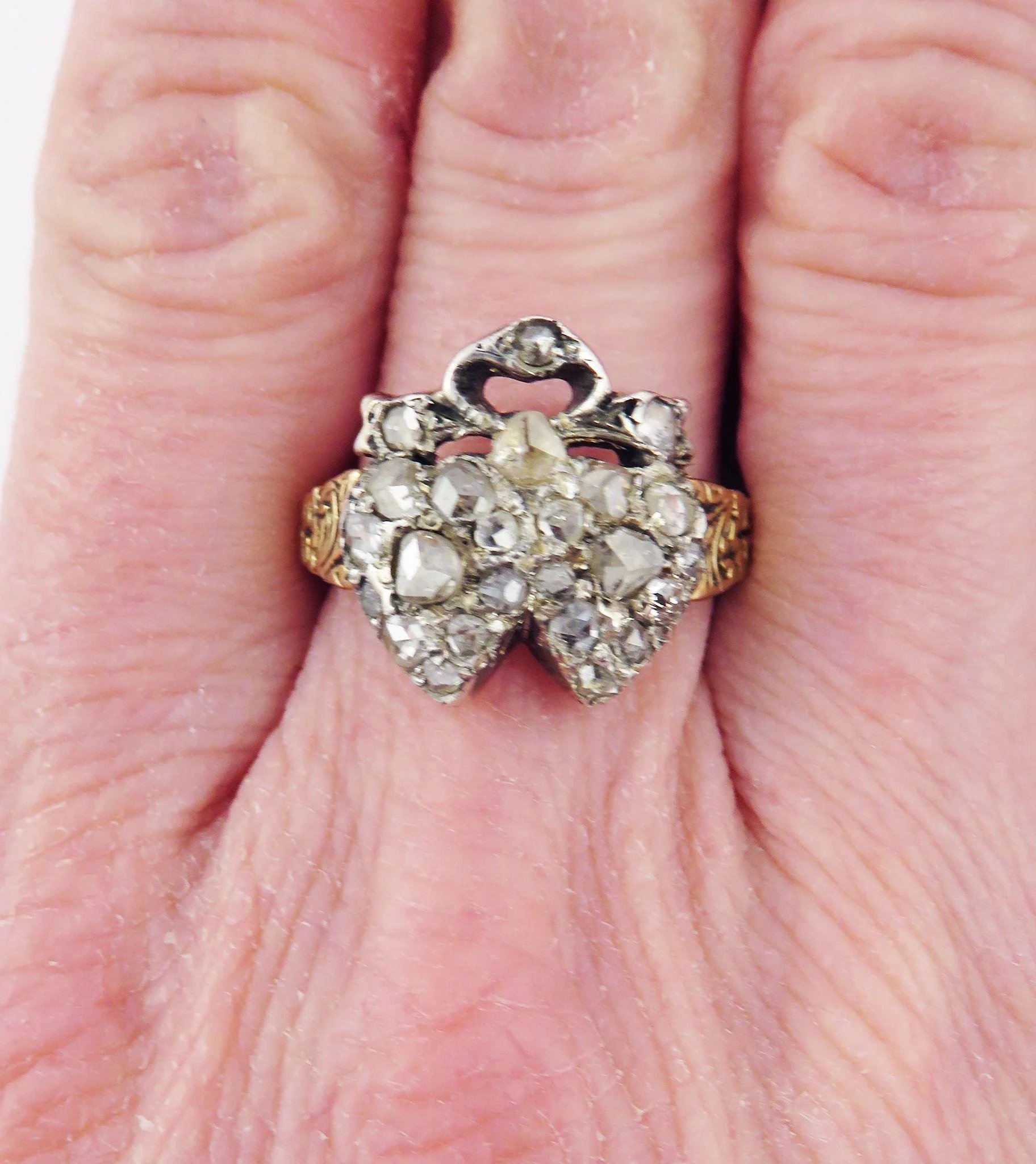 HEARTS AND RIBBONS! 1.1 Ct. TW Victorian Rose-Cut Diamond/14k Double ...