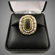 STATELY Late Georgian Hair/Pearl/12k Rose Gold Memorial Ring, 6.15 Grams, c.1830!