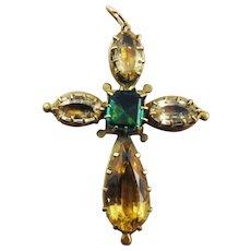 EXQUISITE Georgian 10.27 Ct. TW Jeweled Citrine & Topaz/Pinchbeck Cross Pendant, c.1825!