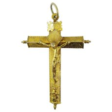 MUSEUM-WORTHY Spanish Colonial Silver Gilt Pectoral Cross, c.1600!