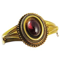 SO ROMANTIC High Victorian 5.91 Ct. Garnet Carbuncle/15k Bracelet w/Hidden Photo Locket, 13.54 Grams, c.1855!